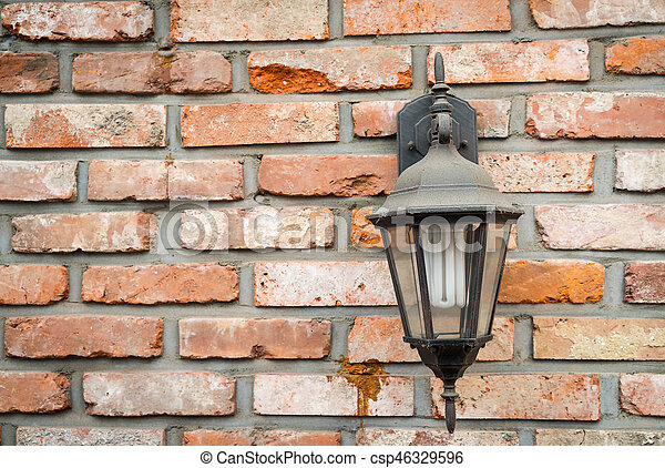 old lamp on wall - csp46329596