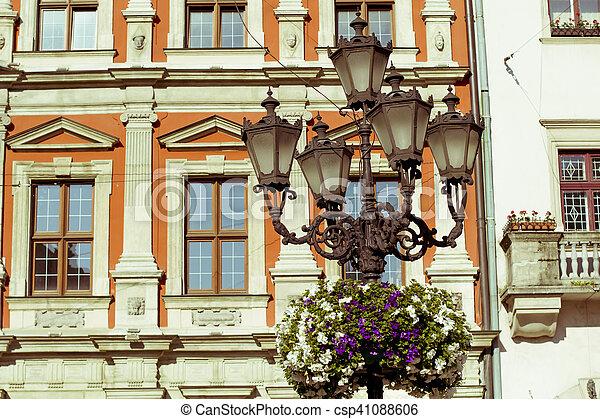 Old lantern on square in Lviv - csp41088606