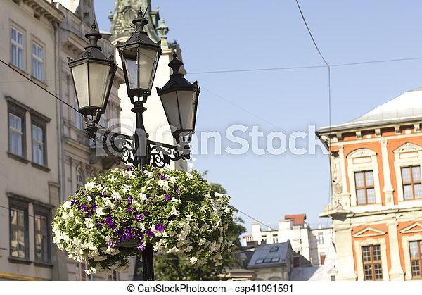 Old lantern on square in Lviv. Western Ukraine - csp41091591