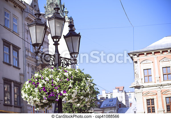 Old lantern on square in the city - csp41088566