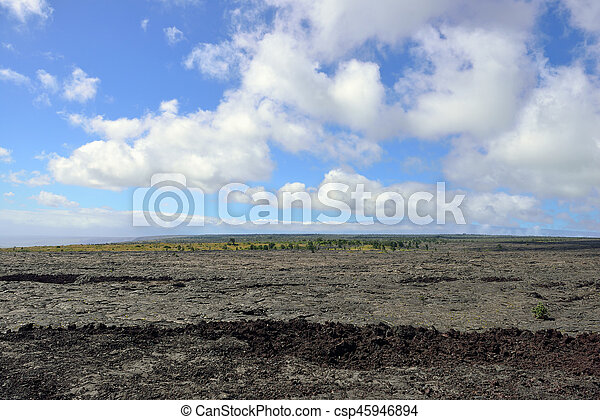 old lava and sky in the Big Island of Hawaii, Volcanoes National Park - csp45946894