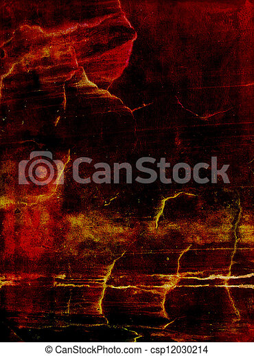 Old leather: Abstract textured background with red, yellow, and brown patterns on dark backdrop - csp12030214