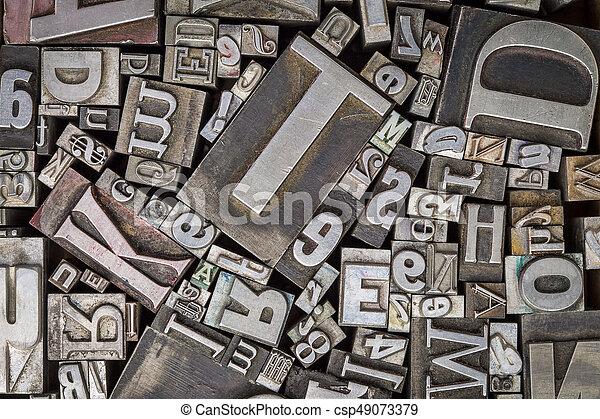 old letterpress metal type printing blocks - csp49073379