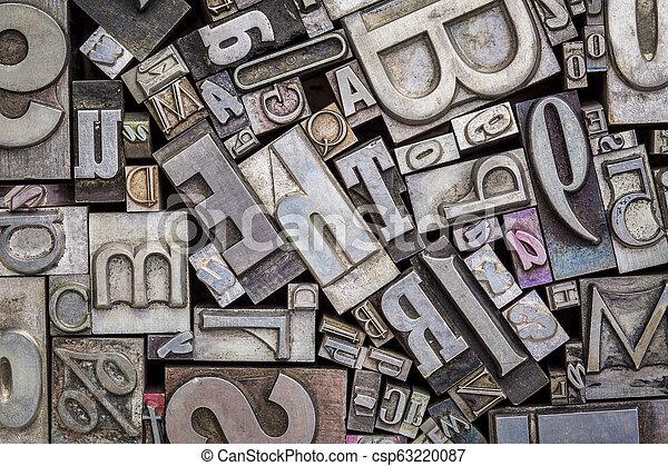 old letterpress metal type printing blocks - csp63220087