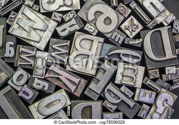 old letterpress metal type printing blocks - csp78599329