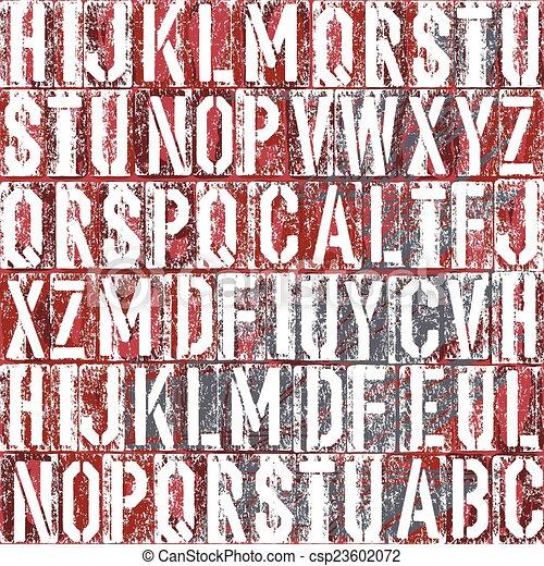 Old letterpress type background, vector - csp23602072