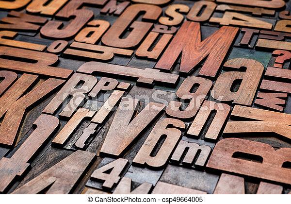 Old letterpress wood type printing blocks - csp49664005