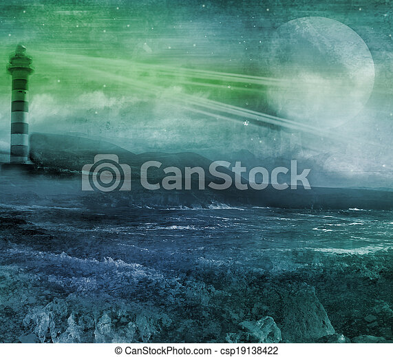 old lighthouse on a rock island, grunge abstract landscape with moon - csp19138422
