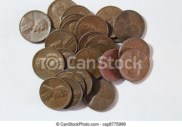 Old Lincoln Pennies - csp8775999