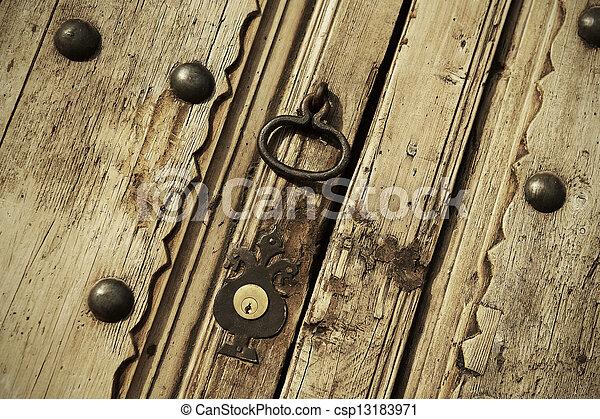 Old lock on a vintage door - csp13183971