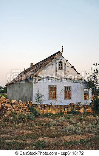 Old lonely house in village - csp6118172