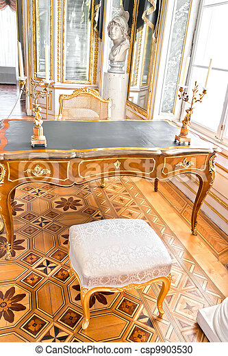 Old luxury library in palace interior. - csp9903530