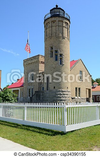 Old Mackinac Point Lighthouse in Mackinaw City Michigan - csp34390155