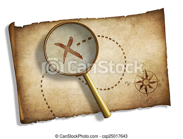old magnifying glass and pirates' treasure map isolated - csp25017643