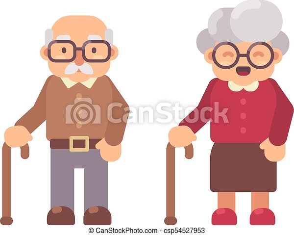 Old Man And Old Lady Flat Character Illustration Grandfather And