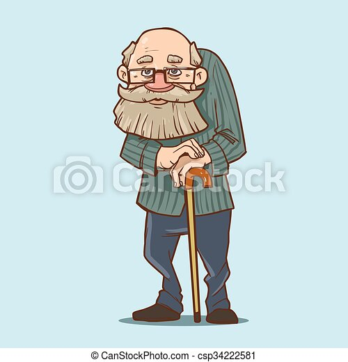 old man cartoon. old man with cane, cartoon character, funny