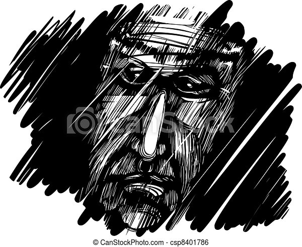 old man face in darkness - csp8401786