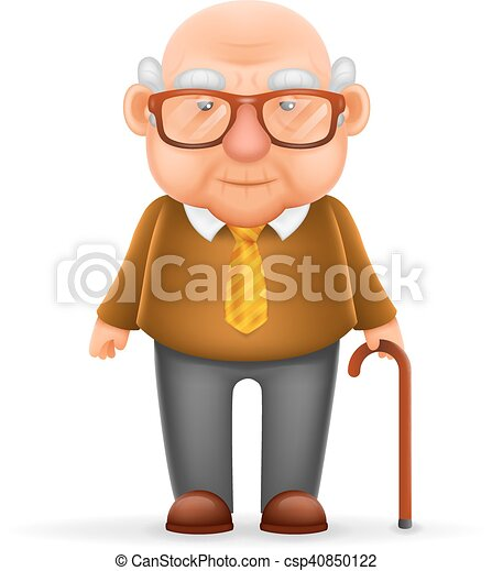 Old Man Grandfather 3d Realistic Cartoon Character Design