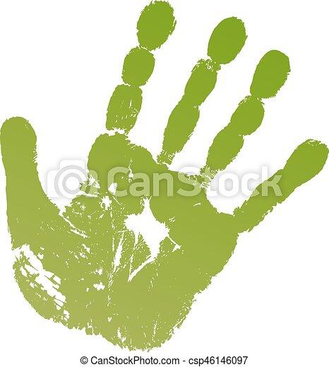 Old man grey hand print - csp46146097