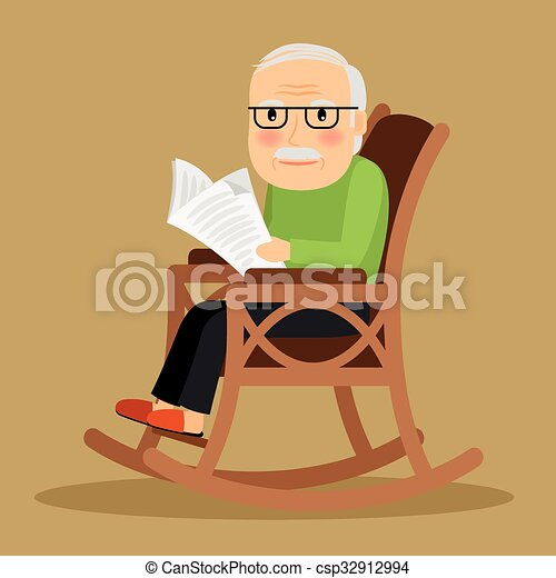 Magnificent Old Man Sitting In Rocking Chair And Newspaper Squirreltailoven Fun Painted Chair Ideas Images Squirreltailovenorg