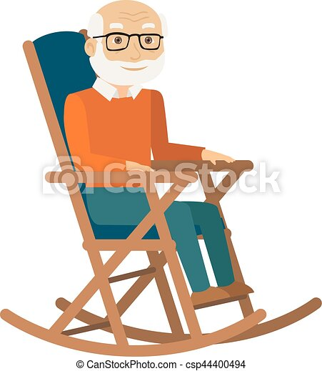 Old Man Sitting In Rocking Chair Vector