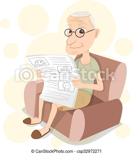 Cartoon Old Man Sitting On Sofa And Reading A Newspaper