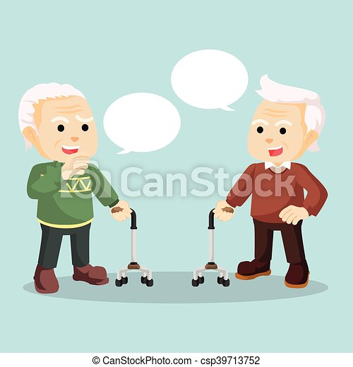 old man talking each other - csp39713752