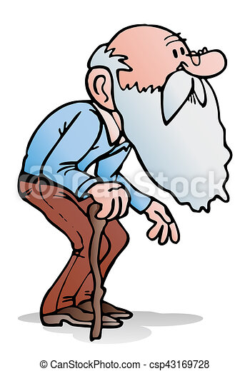 old man walking illustration of an old man holding a cane clip rh canstockphoto com old man clip art pictures old man clipart and birthday free
