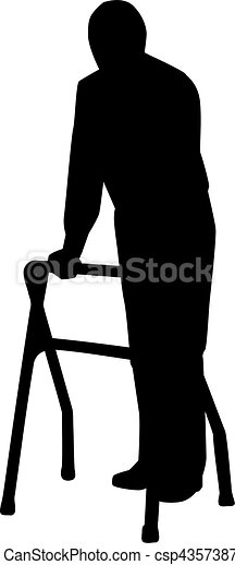 Old man walking with cane - csp43573877