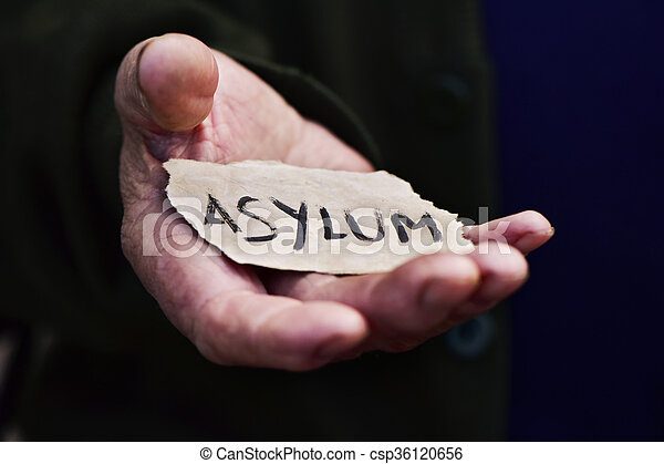 old man with a paper with the word asylum - csp36120656
