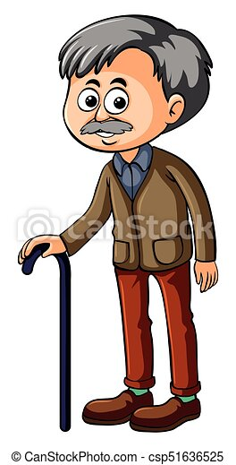 Old man with black cane - csp51636525