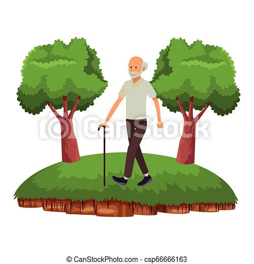 old man with cane - csp66666163