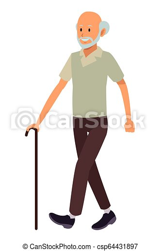 old man with cane - csp64431897