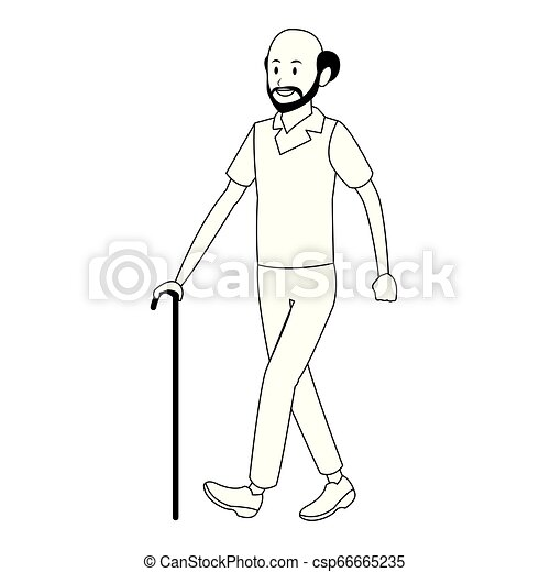 old man with cane - csp66665235