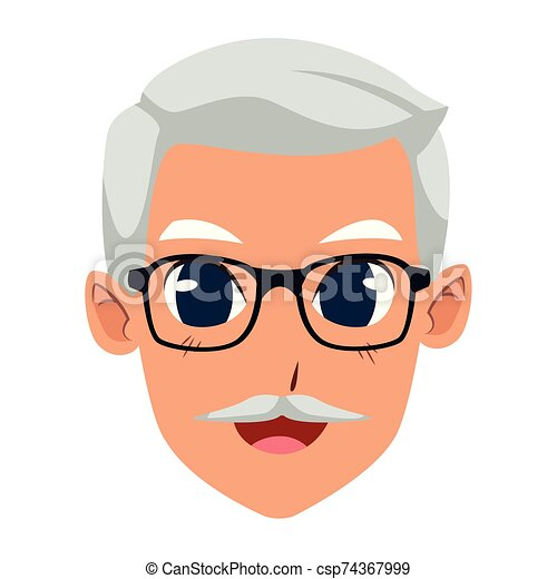 old man with glasses, flat design - csp74367999