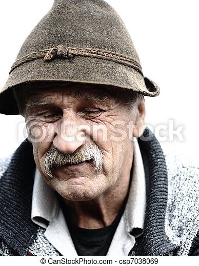 Old man with hat - csp7038069