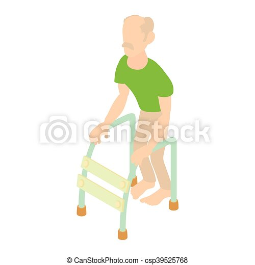 Old man with walking frame icon, cartoon style. Icon in cartoon ...