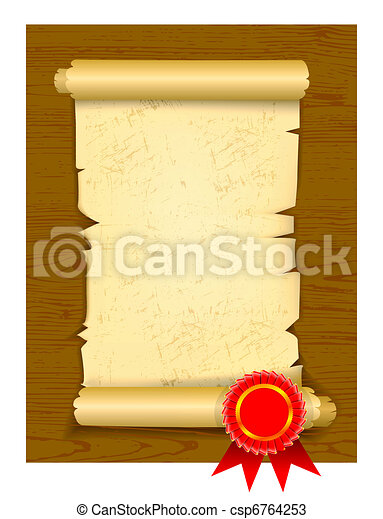 Old manuscript on wooden floor - csp6764253