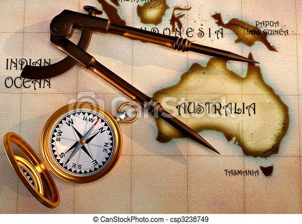 old map and compass csp3238749