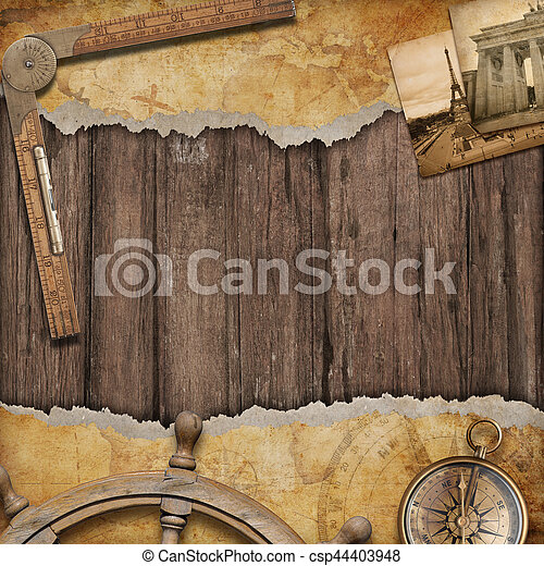 Old map background with compass. Adventure and travel concept. - csp44403948
