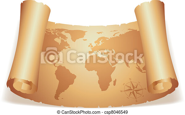 Old map world map on scroll of old paper old map csp8046549 gumiabroncs Gallery