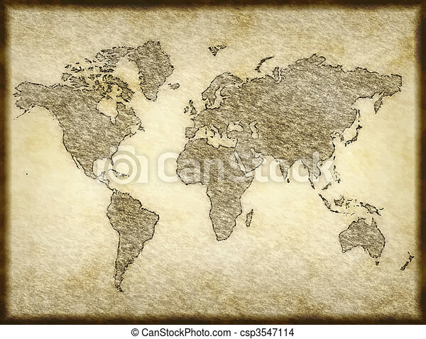 Old map old world map sketched onto parchment paper eps vector old map vector gumiabroncs Gallery
