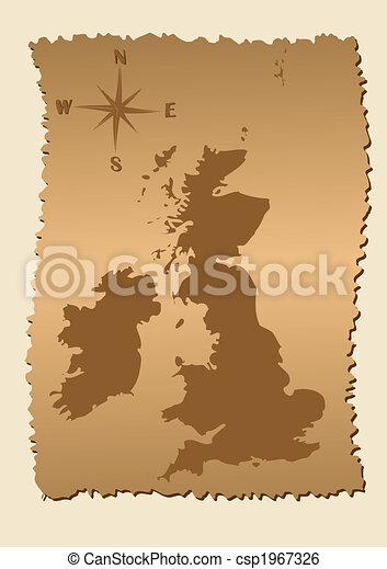 Old map of Great Britain and Ireland - csp1967326