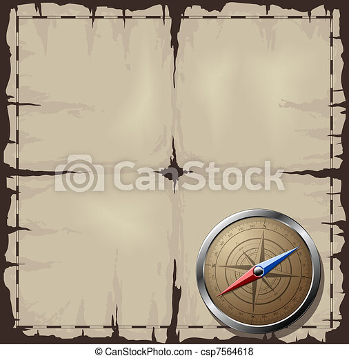 Old map with Steel Compass - csp7564618