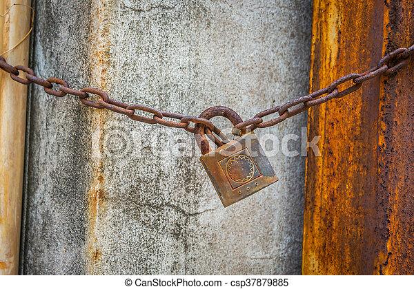 Old master key rustry in soft light - csp37879885