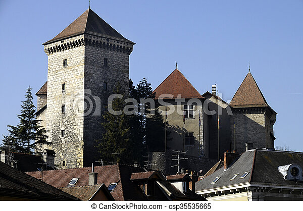 Old medieval castle of annecy city, France - csp35535665