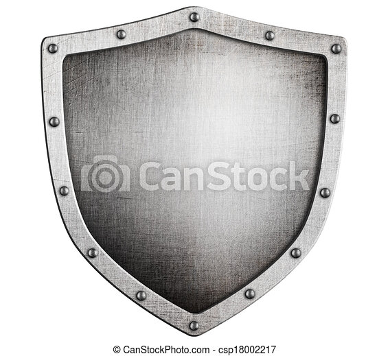 old medieval metal shield isolated on white - csp18002217