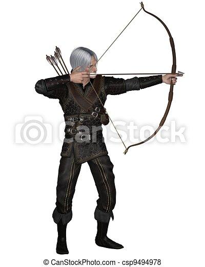 Old Medieval or Fantasy Archer - csp9494978