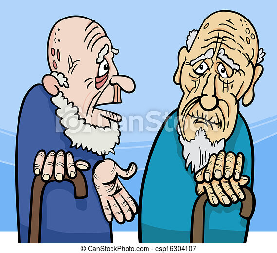 old men cartoon illustration - csp16304107