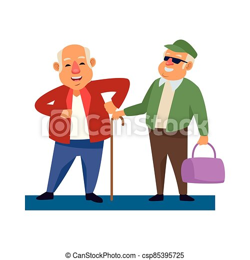 old men with handbag and cane active senior characters - csp85395725